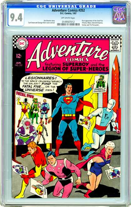 CGC Graded Comics - Adventure Comics #352 (CGC) - Legion - Superboy - Five - Red Cape - Fe