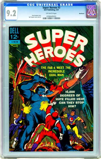CGC Graded Comics - Super Heroes #3 (CGC) - Super Heroes - Dell - Coal Man - Flying Lady - 10000 Degrees