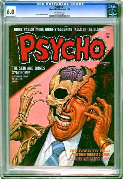CGC Graded Comics - Psycho #1 (CGC) - Psycho - Horror - Skulls - Skin And Bones Syndrome - Silver Age