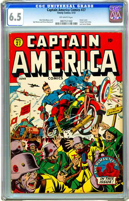CGC Graded Comics - Captain America Comics #27 (CGC) - Captain America - Costume - The Human Torch - Soldiers - Battle