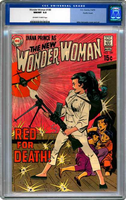 CGC Graded Comics - Wonder Woman #189 (CGC) - Woman Comics - Dc Comics Woman - Shooting Planes - Red Cover - Protecting Children