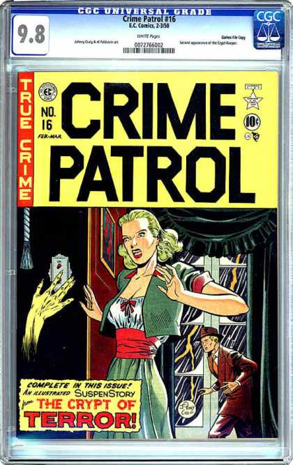 CGC Graded Comics - Crime Patrol #16 (CGC) - Woman Screaming - Storm - Lightning - Light About To Be Turned Off - The Crypt Of Terror