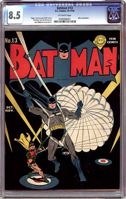 CGC Graded Comics - Batman #13 (CGC) - Batman - Robin - No 13 - 85 - Parachute