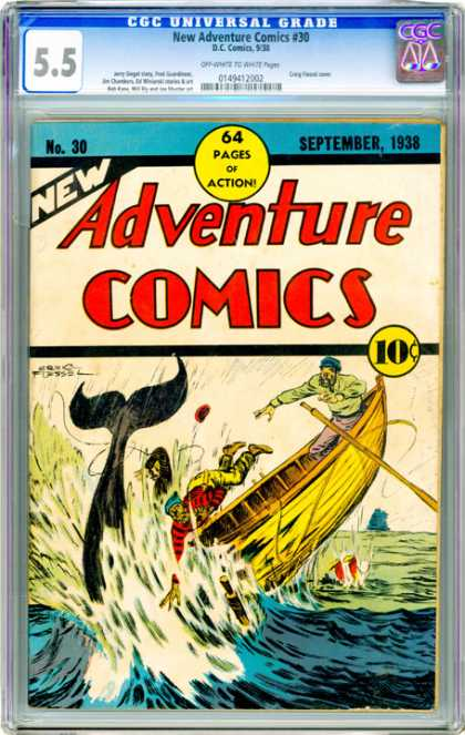 CGC Graded Comics - New Adventure Comics #30 (CGC) - Adventure Comics - New - Whale - Boat - Oar