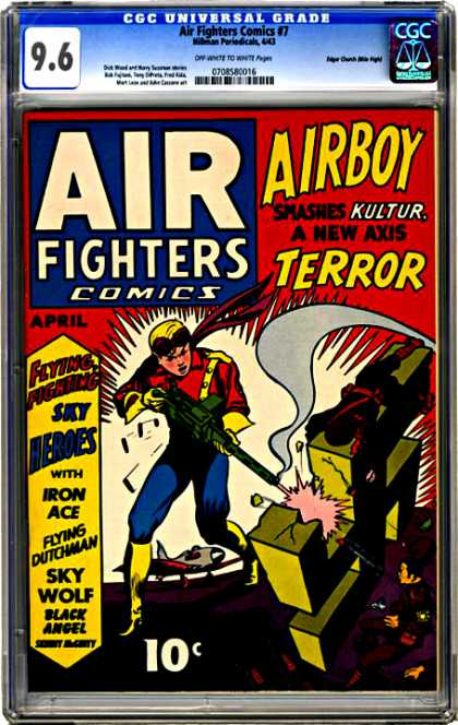 CGC Graded Comics - Air Fighters Comics #7 (CGC) - Airboy - Kultur - Iron Ace - Sky Wolf - Flying Dutchman