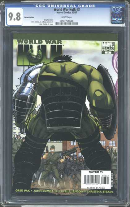 CGC Graded Comics - World War Hulk #3 (CGC) - World War Hulk - Green Monster - Mutant - Guns - Soldiers