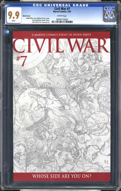 CGC Graded Comics - Civil War #7 (CGC) - Civil War - 7 - Whose Side Are You On - Outline Drawing - Captain America