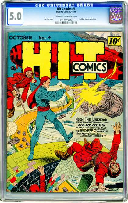 CGC Graded Comics - Hit Comics #4 (CGC) - Neon The Unknown - Hercules - Red Bee - Parachutes - Brick Wall