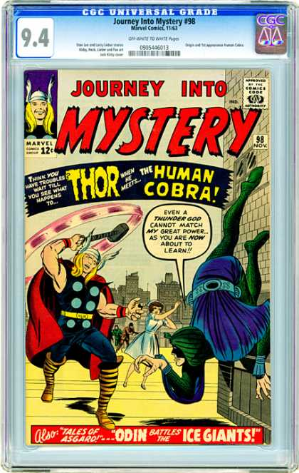 CGC Graded Comics - Journey Into Mystery #98 (CGC) - Thor - Human Cobra - Hammer - Building - Odin Battles The Ice Giants
