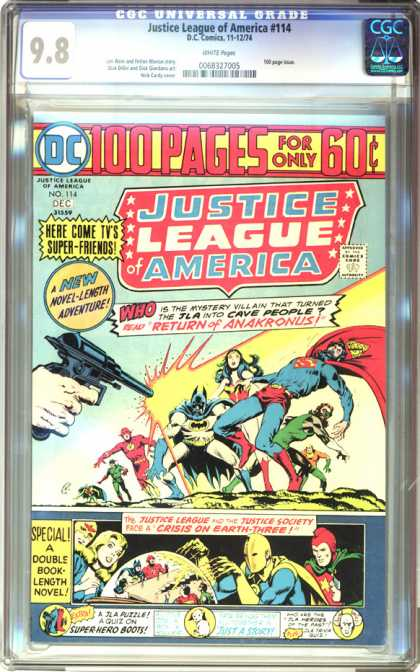 CGC Graded Comics - Justice League of America #114 (CGC) - Justice League America - Here Come Tvs Super Friends - Return Of Anakronus - Special Double Book - Crisis On Earth