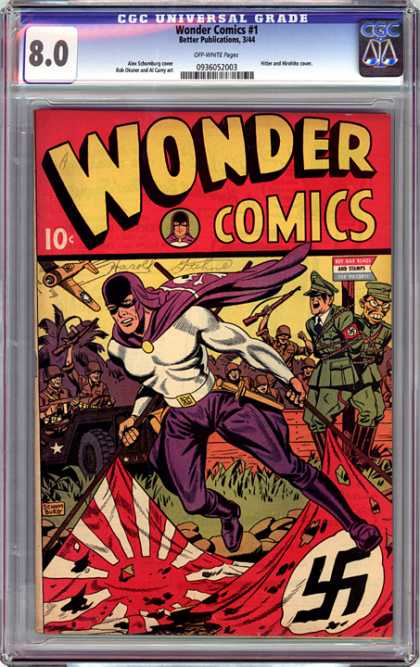 CGC Graded Comics - Wonder Comics #1 (CGC) - Nazi - Post - Sign - Japanese - Plane