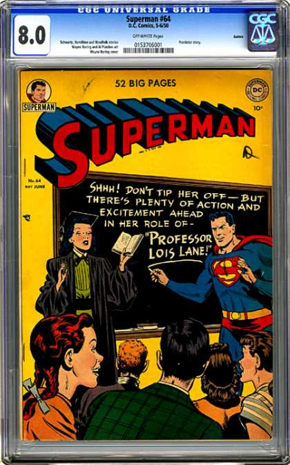 CGC Graded Comics - Superman #64 (CGC) - Lois Lane - Chalkboard - Superman - Teacher - Dc