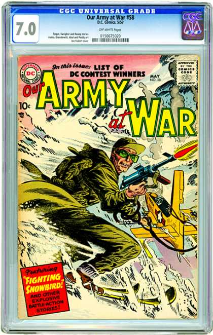 CGC Graded Comics - Our Army at War #58 (CGC) - Dc - Dc Comics - Army At War - Fighting Snowbird - Action