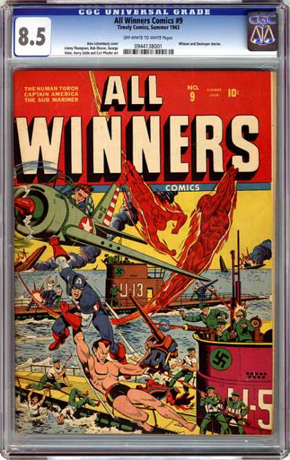 CGC Graded Comics - All Winners Comics #9 (CGC) - Captain American - Fighter Plane - U-boat - Nazi Soldiers - Swastika