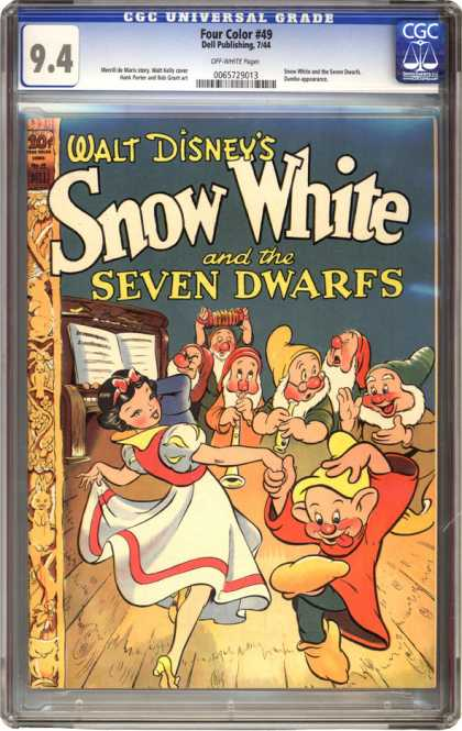 CGC Graded Comics - Four Color #49 (CGC) - Snow White - Seven Dwarfs - Dancing - Piano - Playing Music
