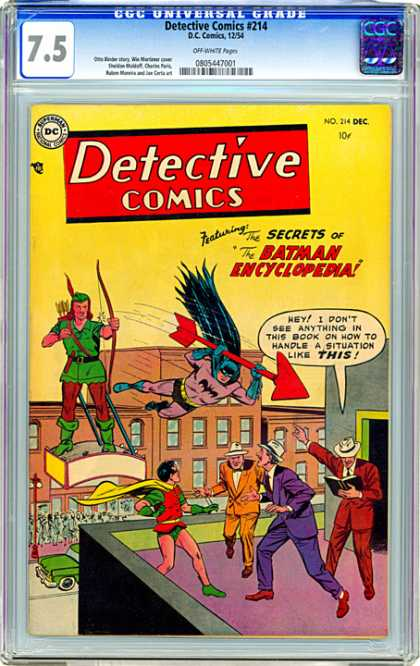 CGC Graded Comics - Detective Comics #214 (CGC) - Giant Red Arrow - Giant Robin Hood - Robin - The Secrets Of The Batman Encyclopedia - 3 Men In Suits