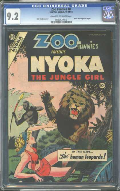 CGC Graded Comics - Zoo Funnies #8 (CGC) - The Jungle Girl - Human Leopards - Roaring Lion - Native - Nyoka