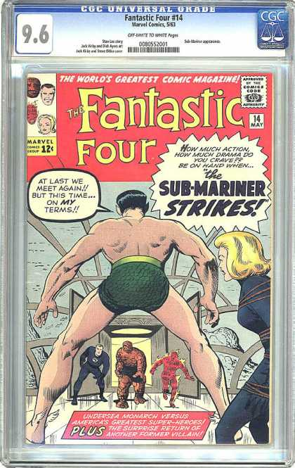 CGC Graded Comics - Fantastic Four #14 (CGC) - Fantastic Four - Sub-mariner Strikes - Tied Lady - Undrerwater - Green Underware