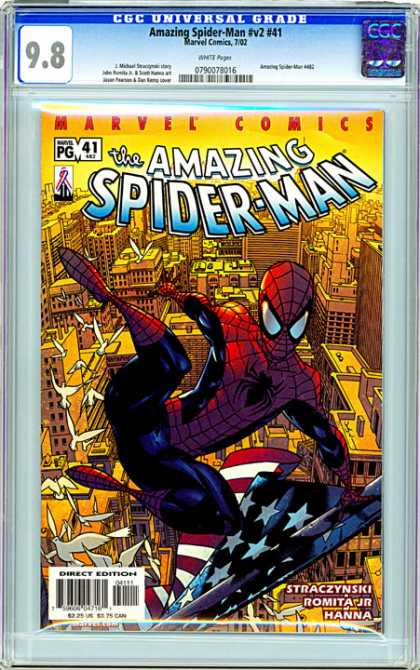 CGC Graded Comics - Amazing Spider-Man #v2 #41 (CGC) - Amazing Spiderman - Marvel - City - American Flag - Birds