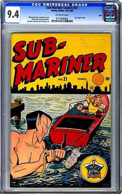 CGC Graded Comics - Sub-Mariner Comics #21 (CGC) - Sub-mariner - Boat - Water - Pointy Ears - Rope