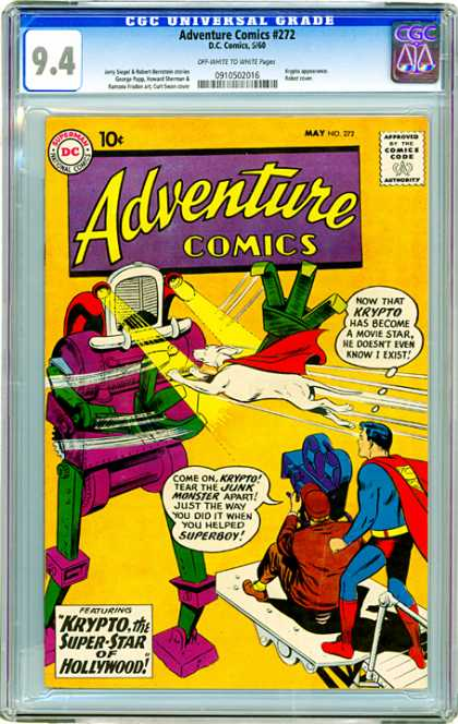 CGC Graded Comics - Adventure Comics #272 (CGC) - 10 Cents - Headlights - Comics Code Authority - Superman - Thought Bubble