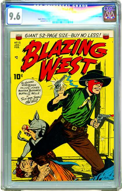 CGC Graded Comics - Blazing West #15 (CGC) - Hooded Horseman - Injun Jones - Bantam Buckaroo - Buffalo Belle - Revolver