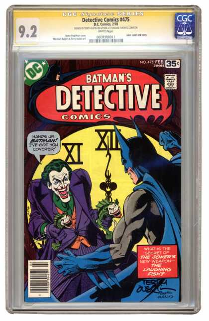 CGC Graded Comics - Detective Comics #475 (CGC) - Evil Fish Guns - Scary Joker - Batman Will Prevail - Nervous Laughter - The Secret Uncovered