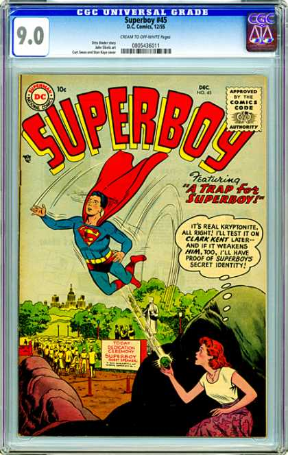 CGC Graded Comics - Superboy #45 (CGC) - 90 - Dc - A Trap For Superboy - Superboy 45 - Approved By The Comics Code Authority