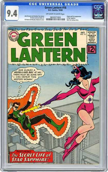 CGC Graded Comics - Green Lantern #16 (CGC) - Star Sapphire - Secret - Life - Ray - Mystery Woman