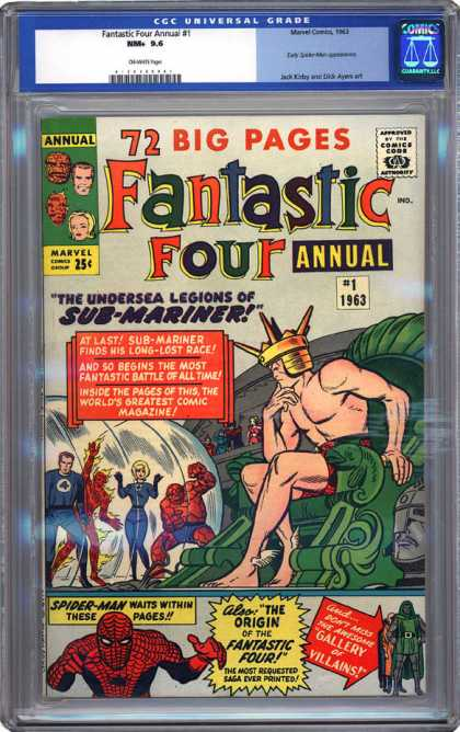 CGC Graded Comics - Fantastic Four Annual #1 (CGC) - Submariner - Thrown - Underwater King - Spiderman - Gallery Of Villians