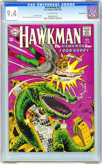 CGC Graded Comics - Hawkman #23 (CGC) - Dinosaur Slayer - Prehistoric Super Hero - Green Tights Takes On Green Dinosaur - From 1million Bc To Skyscrapers - Dinosaur Gets Dental Treatment