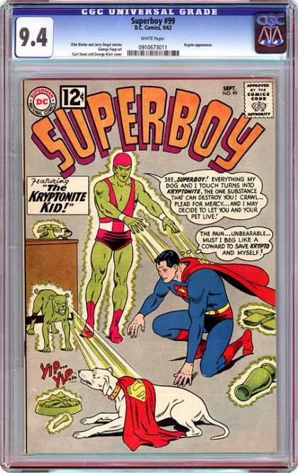 CGC Graded Comics - Superboy #99 (CGC) - Superboy - Approved By The Comics Code - Superman National Comics - Dog - The Kryptonite Kid