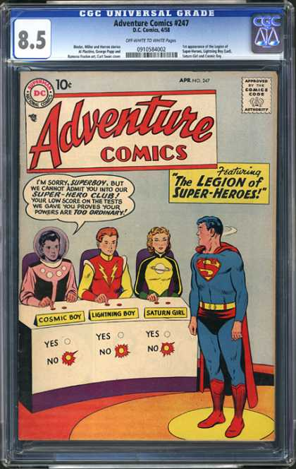 CGC Graded Comics - Adventure Comics #247 (CGC) - The Legion Of Super Heroes - Spider Man - Saturn Girl - Lightining Boy - Cosmic Boy