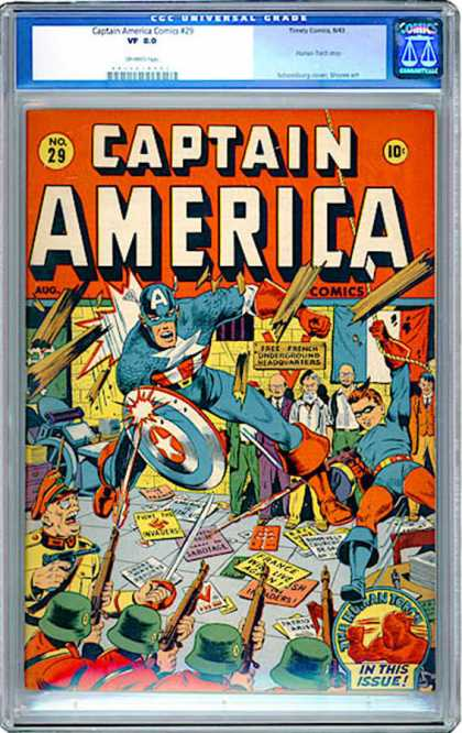 CGC Graded Comics - Captain America Comics #29 (CGC) - Captain America - Shield - 10 Cents - August