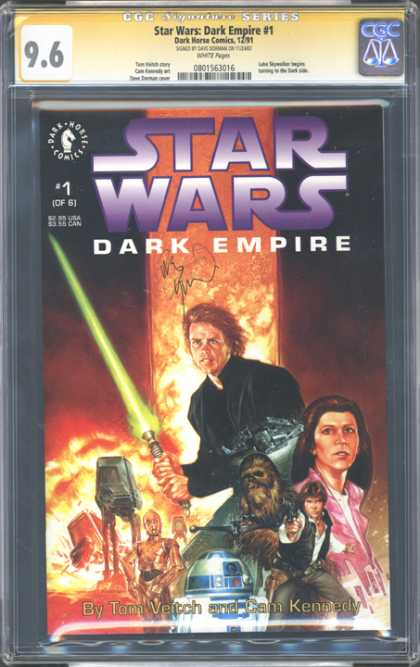 CGC Graded Comics - Star Wars Dark Empire #1 (CGC) - Dark Empire - 1 Of 6 - Jedi - Light Saber - R2d2