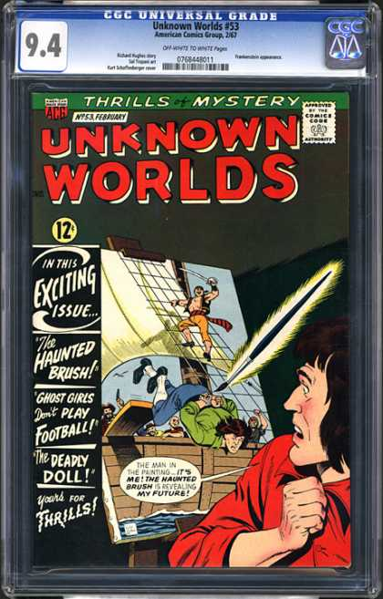CGC Graded Comics - Unknown Worlds #53 (CGC) - The Haunted Brush - Walking The Plank - Pirate - The Deadly Doll - Painting On Canvas