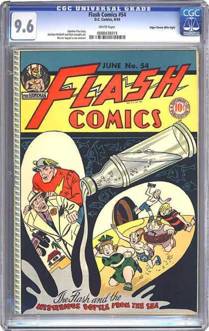 CGC Graded Comics - Flash Comics #54 (CGC) - Beach - People - One Red Man - House - Bottle