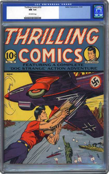 CGC Graded Comics - Thrilling Comics #10 (CGC) - Nazi Insignia - Airplane - Statue Of Liberty - Skyscrapers - Ships