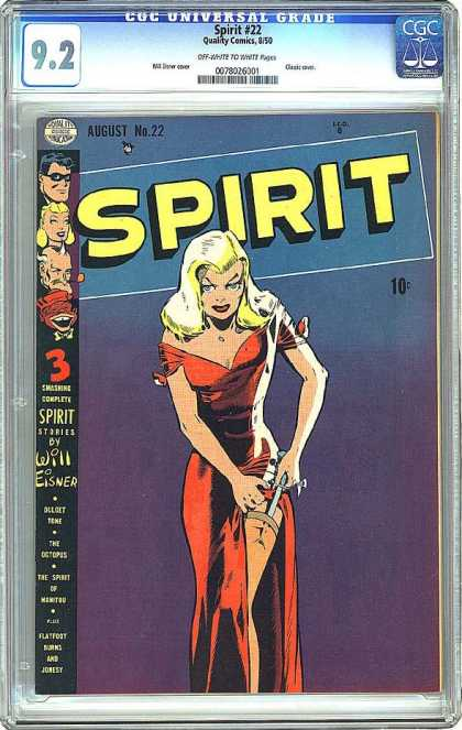 CGC Graded Comics - Spirit #22 (CGC) - Blonde - Garter - Knife - Dress