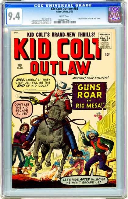 CGC Graded Comics - Kid Colt Outlaw #89 (CGC) - Guns Roar In Rio Mesa - Horseback - Cowboys - Guns - Chase