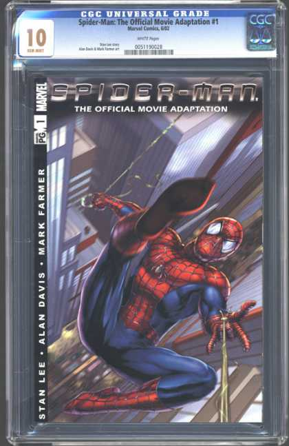 CGC Graded Comics - Spider-Man: The Official Movie Adaptation #1 (CGC) - Spider-man - Costume - Web - City - Mark Farmer