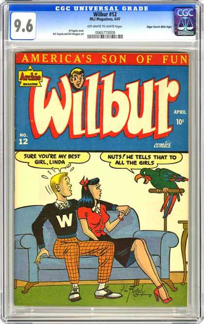 CGC Graded Comics - Wilbur #12 (CGC) - Couch - Parrot - Red Dress - Black W Shirt - Date Night With Bird