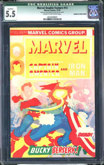 CGC Graded Comics - Marvel Double Feature #13 (CGC) - Caption America - Iron Man - Fight - Bucky - Dead