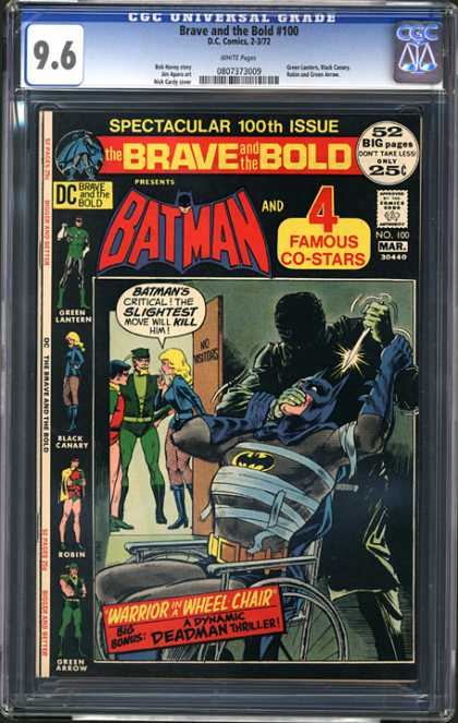 CGC Graded Comics - Brave and the Bold #100 (CGC) - Dynamic Deadman Thriller - Warrior In A Wheel Chair - Green Lantern - Black Canary - Robin
