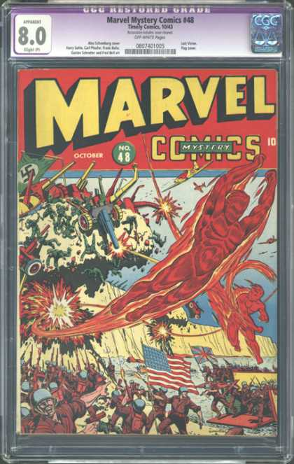 CGC Graded Comics - Marvel Mystery Comics #48 (CGC) - Human Torch - Soldiers - Canon - Airplanes - War