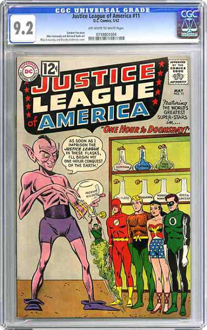 CGC Graded Comics - Justice League of America #11 (CGC) - Justice League - Conquer Earth - Super-stars - Action Heros - Doomsday