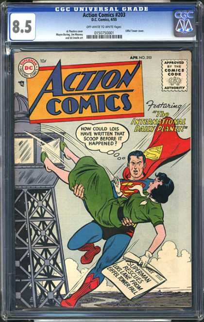 CGC Graded Comics - Action Comics #203 (CGC) - Superman - Lois Lane - Red Cape - Rescue - Green Dress