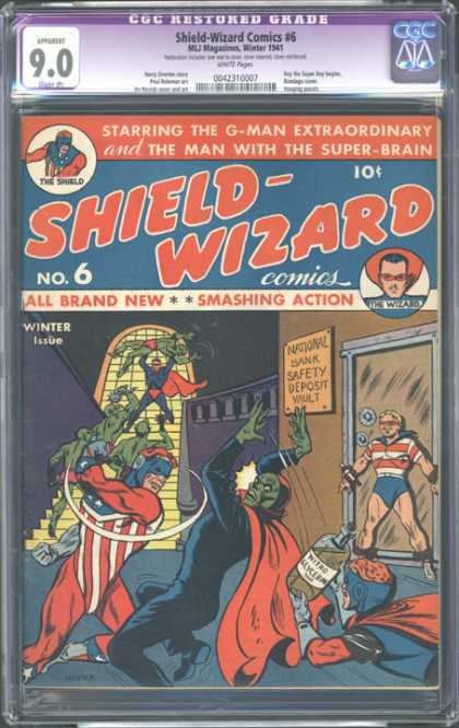 CGC Graded Comics - Shield-Wizard Comics #6 (CGC) - All Brand New - Smashing Action - Heroes - The Shield - The Wizard