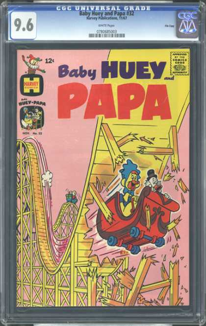 CGC Graded Comics - Baby Huey and papa #32 (CGC) - Cartoon - Baby Huey Papa - Red - Roller Coaster - Blue
