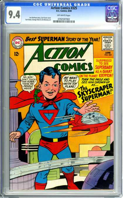 CGC Graded Comics - Action Comics #325 (CGC) - Super Human - Superman Boy - Released In June - Planet Of Krypton - Future